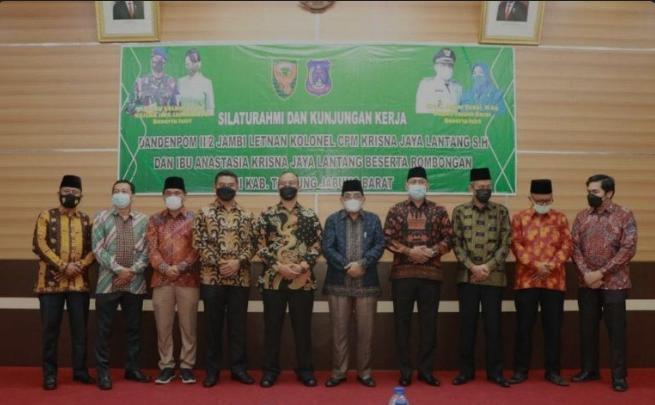 Bupati Tanjab Barat Bersama Wabup Terima Kunjungan Kerja Dandenpom II/2 Jambi