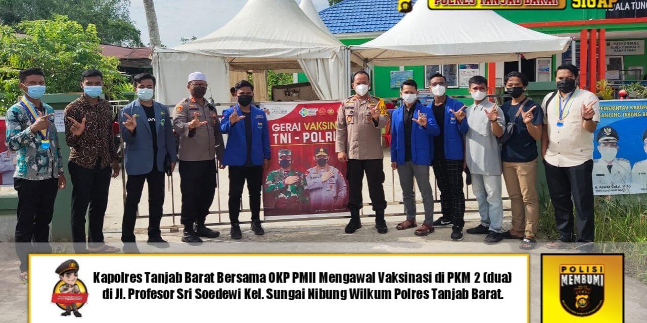 Polres Tanjab Barat Beserta PC PMII dan PC IPNU Bekerjasama, Dalam Vaksinasi Massal di Puskesmas Parit Gompong