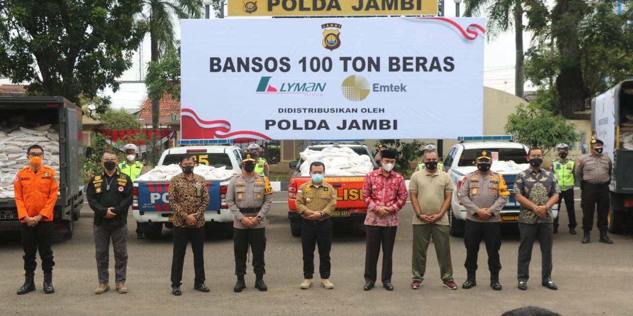 Polda Jambi Distribusikan 100 Ton Beras